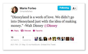 Marie Forleo's Walt Disney tweet