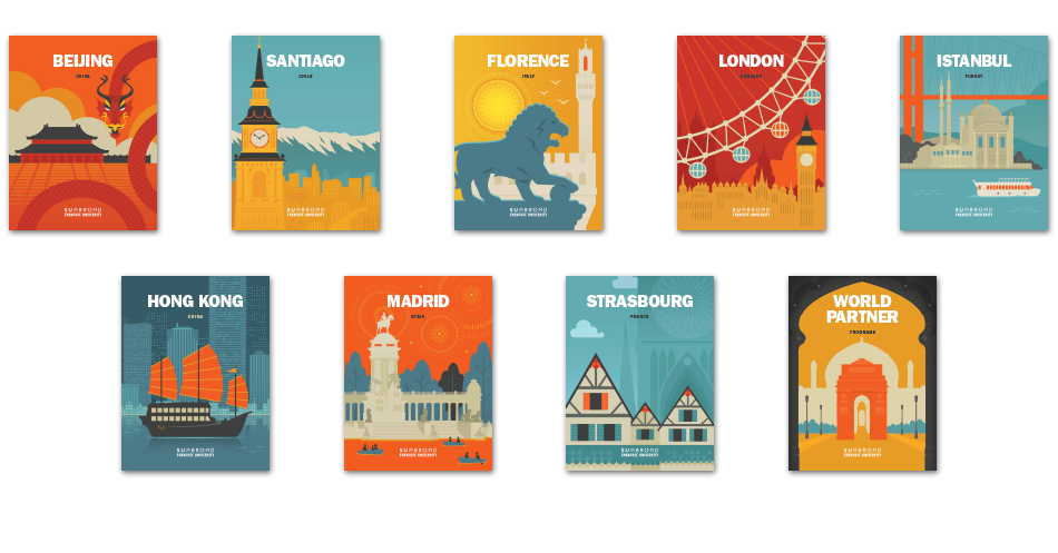 SU Abroad viewbook covers