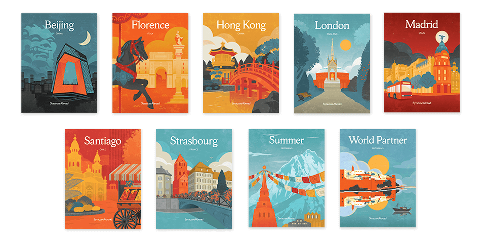 Syracuse Abroad viewbook covers