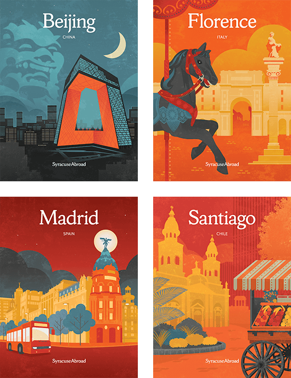 Syracuse Abroad Beijing, Florence, Madrid, and Santiago covers