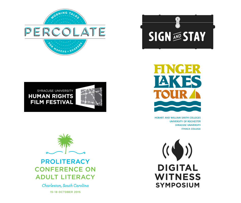 GiansantiDesign logos and marks, Percolate, Sign and Stay, Human Rights Film Festival, Finger Lakes Tour, PCAL, Digital Witness Symposium
